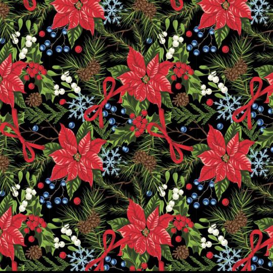 Vánoční dekoráční bavlněné látky vzor VÁNOCE 21 na černém