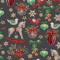 Vánoční bavlněné látky vzor koně na šedém