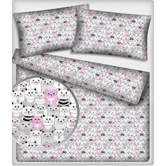 Bavlnená látka 410 vzor mačky, farba ružová, metráž 160 cm