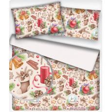 Vánoční dekoráční bavlněné látky vzor VÁNOCE 16 na bílém