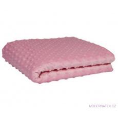 Minky 380 látky mikroplyš puntík  barva růžová