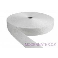 Polypropylénový kabelkový popruh 40 mm  bílý (balení 50 m)