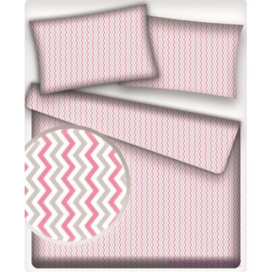 Bavlněné látky Cikcak Růžový a šedý
