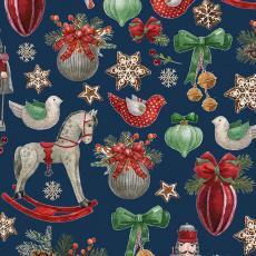 Vánoční bavlněné látky vzor koně na granátovém