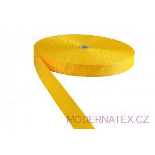 Polypropylénový popruh 25 mm žlutý (balení 50 m)