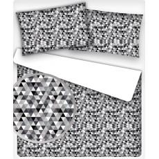 Bavlněné dekorační látky vzor TROJÚHELNÍKY 2cm černé