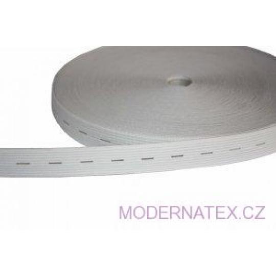 Guma dírkovaná  šíře 20 mm bílá  balení 25 m