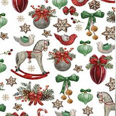 Vánoční bavlněné látky vzor koně na bílém