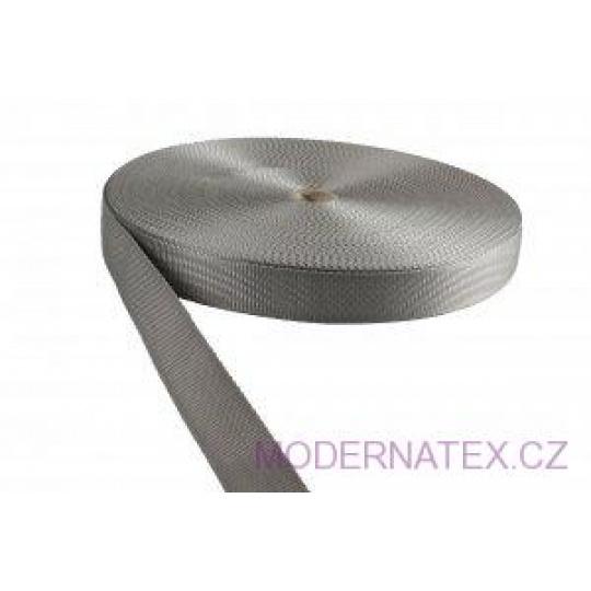 Polypropylénový popruh 25 mm šedý (balení 50 m)