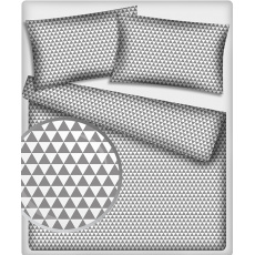 Bavlněné látky vzor Trojúhelníky šedé