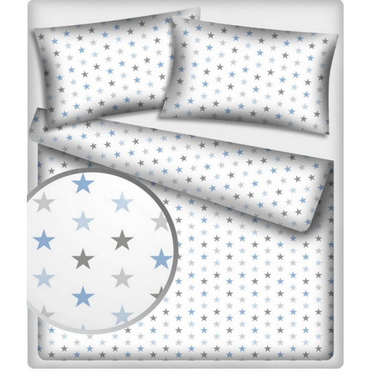Bavlněné látky vzor 361 Hvězdy multimodrý na bílém_