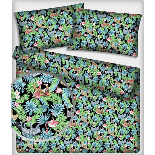 Bavlnená látka vzor džungli, farba tyrkys, metráž 160 cm