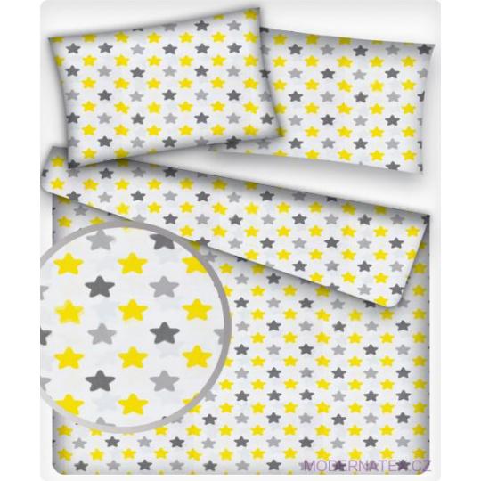 Bavlnená látka, vzor šedé-žlté hviezdy na bielom podklade, metráž 160 cm