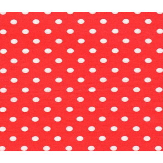 Bavlnená látka, vzor 4 mm stredná bodka, farba červeno-biela, metráž 150 cm