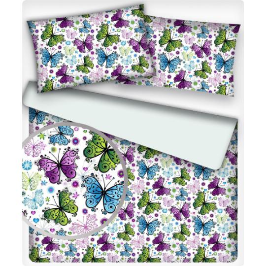 Bavlnená látka 448, vzor motýlikovia leto, farba biela, metráž 160 cm