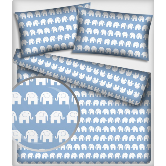 Bavlněné látky vzor SLONI, barva sv modrá 200