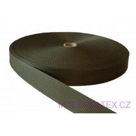 Polypropylénový popruh 25 mm khaki (balení 50 m)