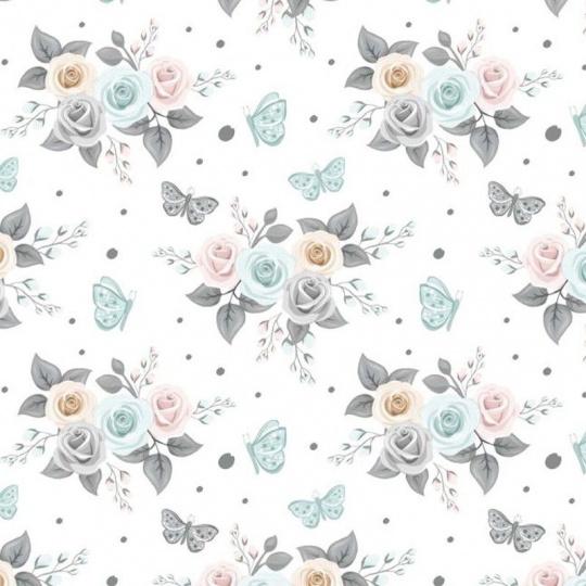 Bavlnená látka 745 vzor kvetiny, metráž 160 cm