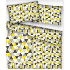 Bavlněné látky Trojúhelníky žluté a hnědé 4 cm