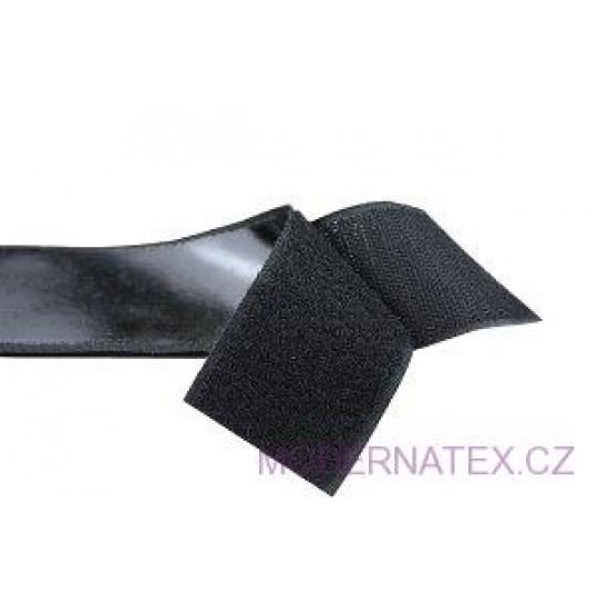Pásek na suchý zip s lepidlem černý 100  mm