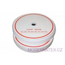 Pásek na suchý zip našívací HÁČEK a SMYČKA SET bílý 20 mm x 25 bm
