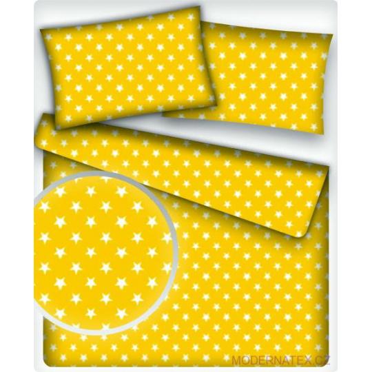 Bavlnená látka 181, vzor biele hviezdy na žltom podklade, metráž 160 cm