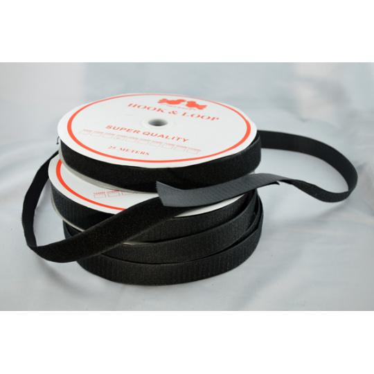 Pásek na suchý zip HÁČEK a SMYČKA SET černý 16 mm balení 25m