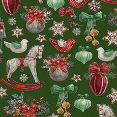 Vánoční bavlněné látky vzor koně na zeleném