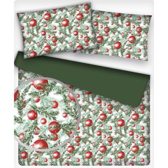 Vánoční dekoráční bavlněné látky vzor VÁNOCE 39  zelené