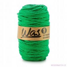 Bavlněná šňůra 5mm, 100m,  barva zelená 220