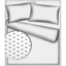 Bavlněné látky vzor 356 Šedé koruny na bílém