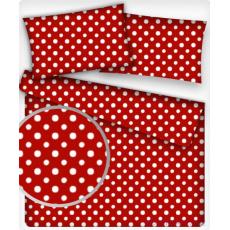 7 mm Bavlněná látka Puntík Bílý červené plátno