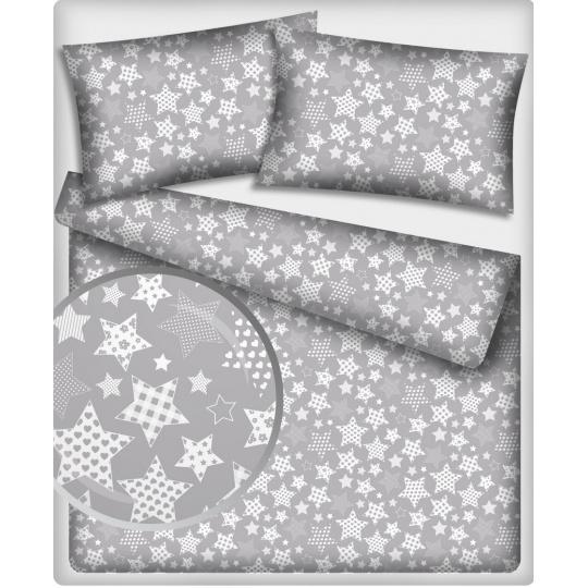 Tkanina bawełniana Białe gwiazdy na szarym tle