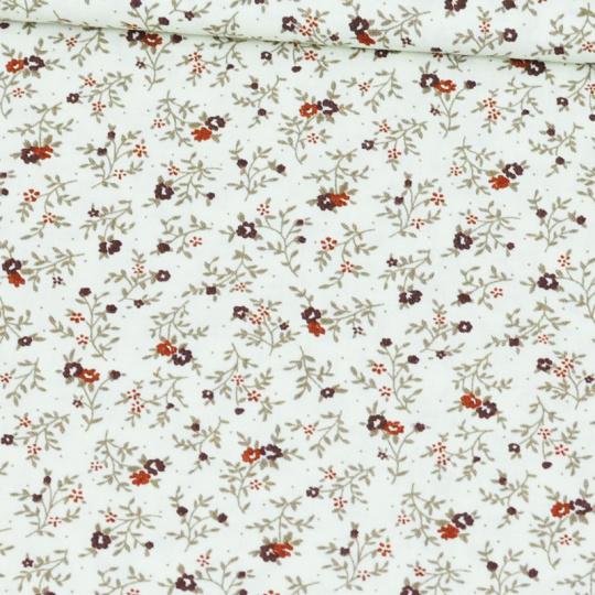 Tkanina bawełniana wzór brązowe kwiaty