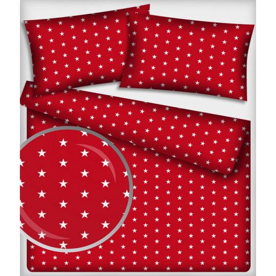 Bavlněné látky vzor 182 Hvězdy barva červená