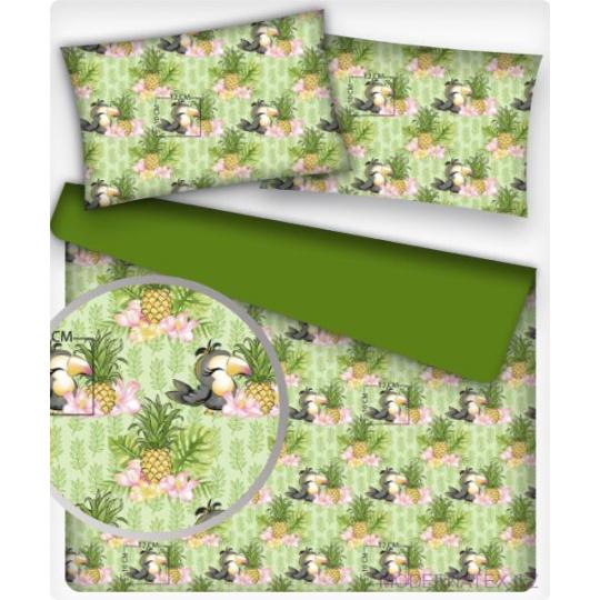 Bavlněné látký vzor PAPOUŽEK a ANANAS na zeleném