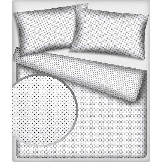 Bavlnená látka, vzor 4 mm stredná šedá bodka 224, farba biela, metráž 150 cm