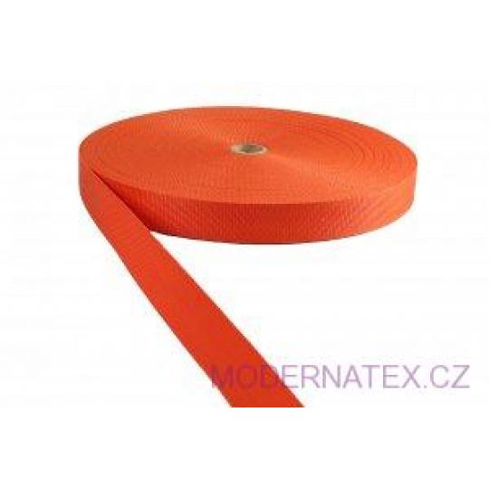 Polypropylénový popruh 25 mm pomerančový (balení 50 m)