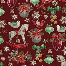 Vánoční bavlněné látky vzor koně na červeném