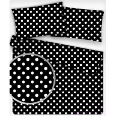 10mm Bavlněná látka Puntík Bílý černé plátno