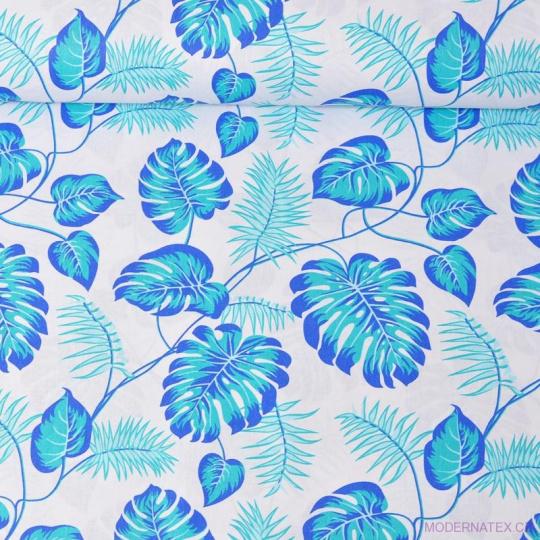 Bavlnená látka vzor modrá palma na bielom podklade, metráž 160 cm