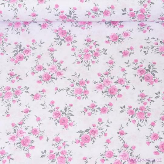 Tkanina bawełniana Róże na białym tle