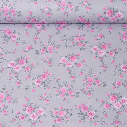 Bavlnená látka vzor kvetiny ruže na šedom podklade, metráž 160 cm